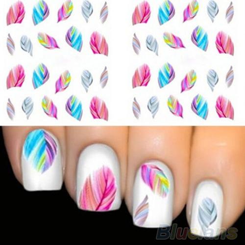 120 Moda unids/bolsa Sueños Del Arco Iris de Plumas Nail Art Water Transfer Sticker Decal
