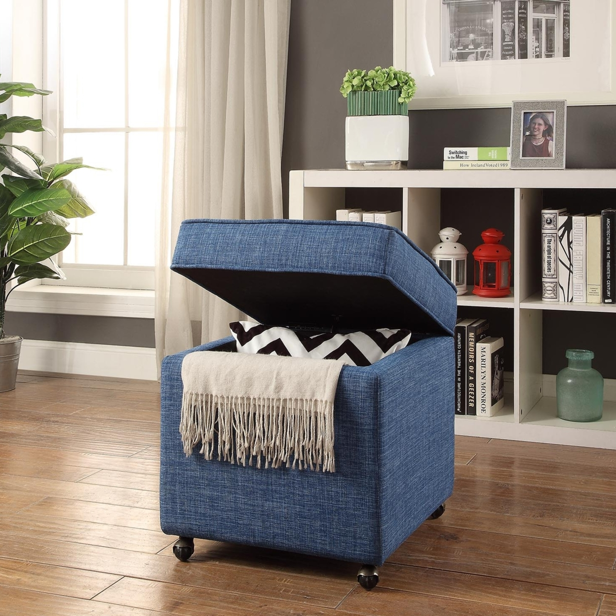 Remarkable Martina Linen Or Velvet Hidden Storage Ottoman Castered Legs Ncnpc Chair Design For Home Ncnpcorg