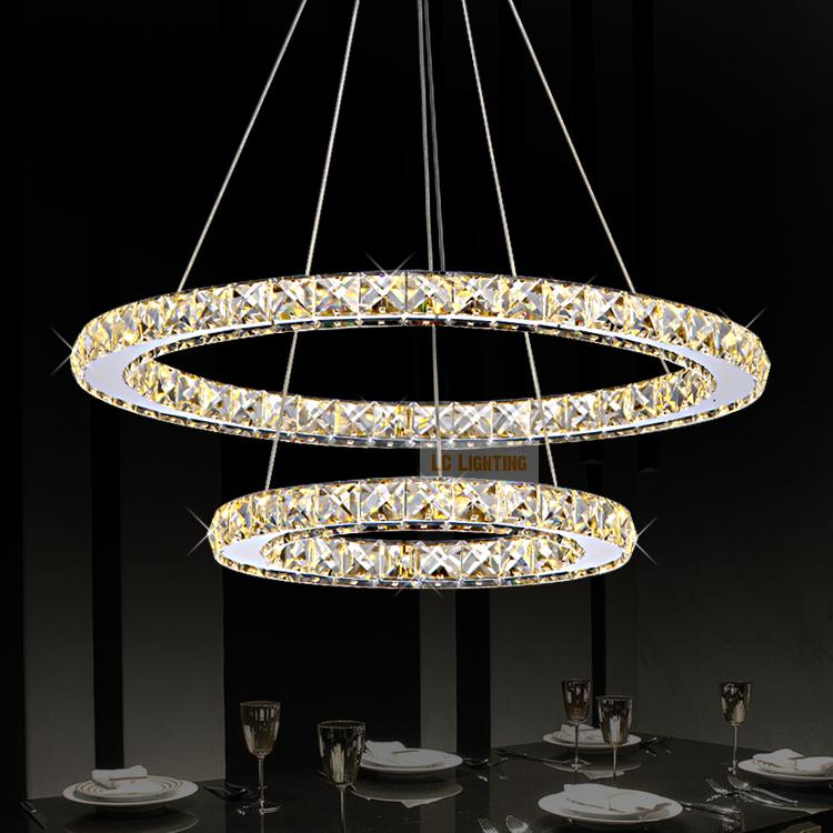 Modern ring crystal contemporary chandelier lustre cristal k9 high modern ring crystal contemporary chandelier lustre cristal k9 high ceiling chandeliers led pendant lamp kroonluchters bedroom in pendant lights from lights aloadofball Images