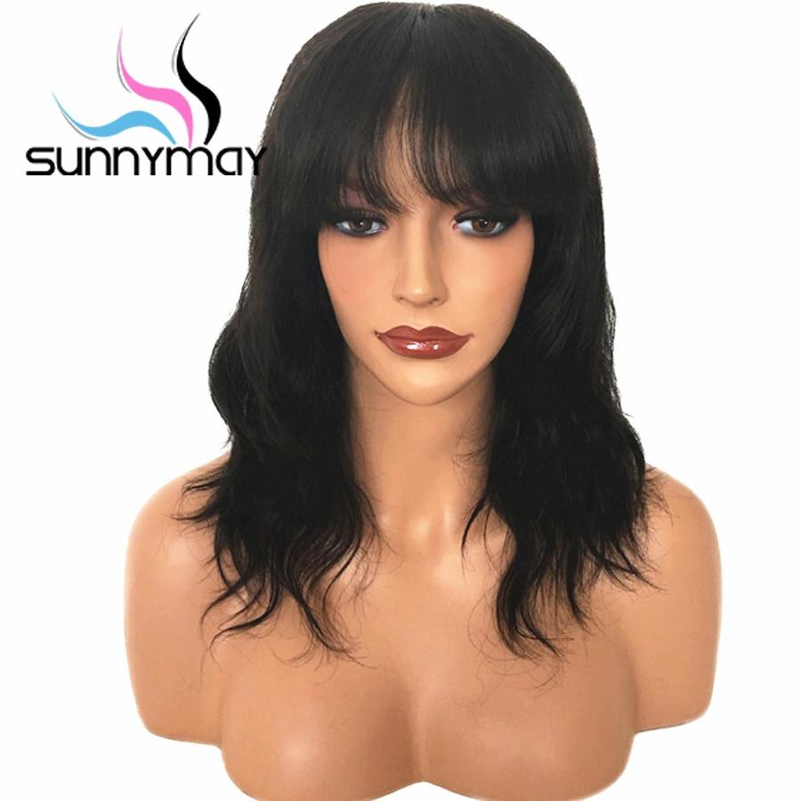 Sunnymay Short Glueless Spitzefront Menschliches Haar Perücken mit - Menschenhaar (für Schwarz)