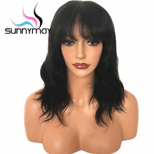 Sunnymay Short Glueless Lace Front Human Hair Wigs With Bangs 130 Remy Hair Wig Wavy Pre