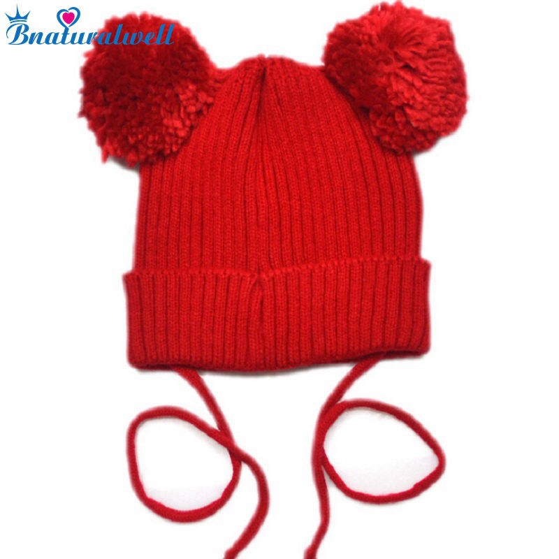 Bnaturalwell Newborn Crochet Warm Baby Beanie Hats For Infant Girls Boys Knitted Skullies Cute Printing Knitted Caps H005