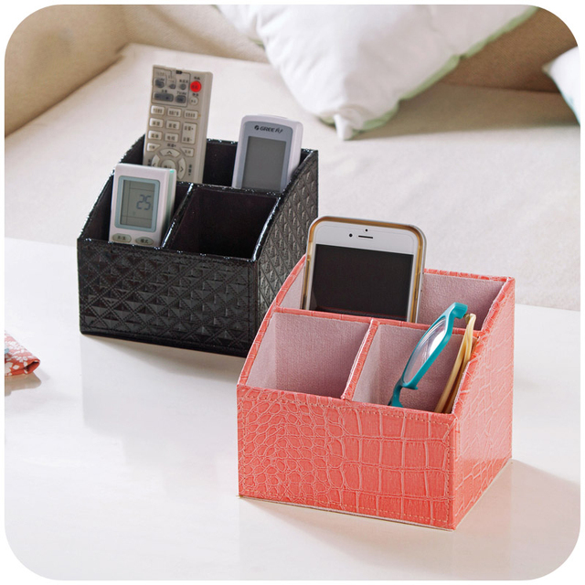 Creative Cosmetics Storage Box Holder Faux Pu Leather Stationery Multifunctional Fashionable Office Supplies Home Desktop