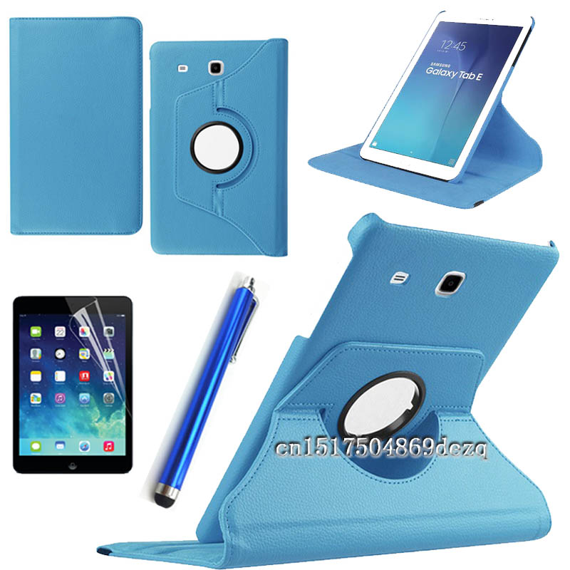New HOT! Stylus+protective film+high quality 360 Rotating PU Leather Case for samsung galaxy tab E 8.0 T377 T377V Tablet Cover dhl eub 5pcs new kinoc protective film mt4414te 15 18