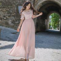 New designer 2018 autumn new organza embroidery dress long maxi pink dress woman elegance party half sleeve O neck chiffon dress