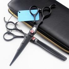 Profesional Japón 440c mano izquierda 7 pulgadas corte de pelo tijeras cortar peluquería makas corte de pelo adelgazamiento tijeras peluquería tijeras