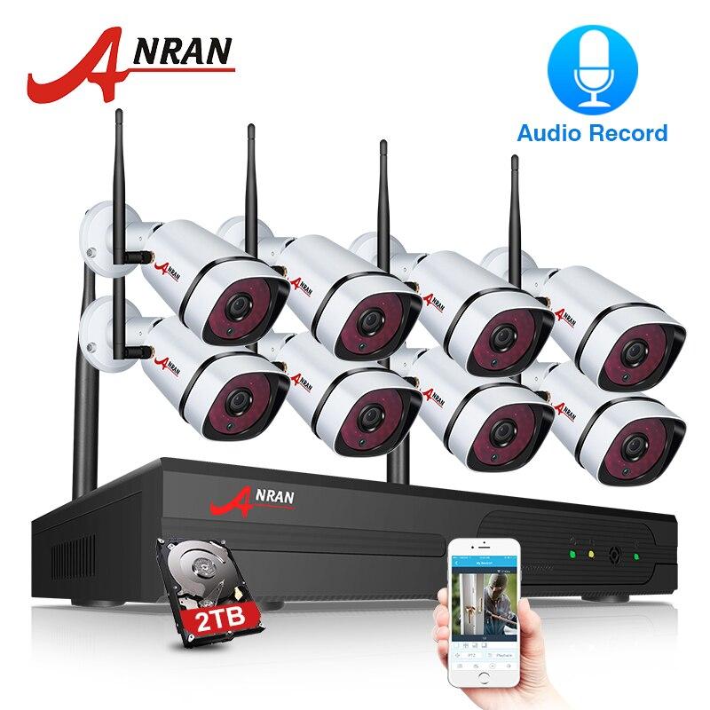8CH ANRAN Wi-fi Sistema de Câmera de Segurança NVR Com 1080 p HD Gravação de Áudio Vigilância IP Sem Fio Da Câmera de Visão Noturna Ao Ar Livre sistema