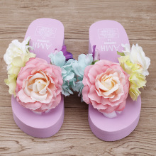 2016 New Handmade Flip Flops Slippers Beautiful Flower Garden Style Wedges Women Beach Sandals Shoes Cheap