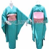 Japanese Traditional Women Ryougi Shiki Iromuji Furisode Kimono Cosplay Costume