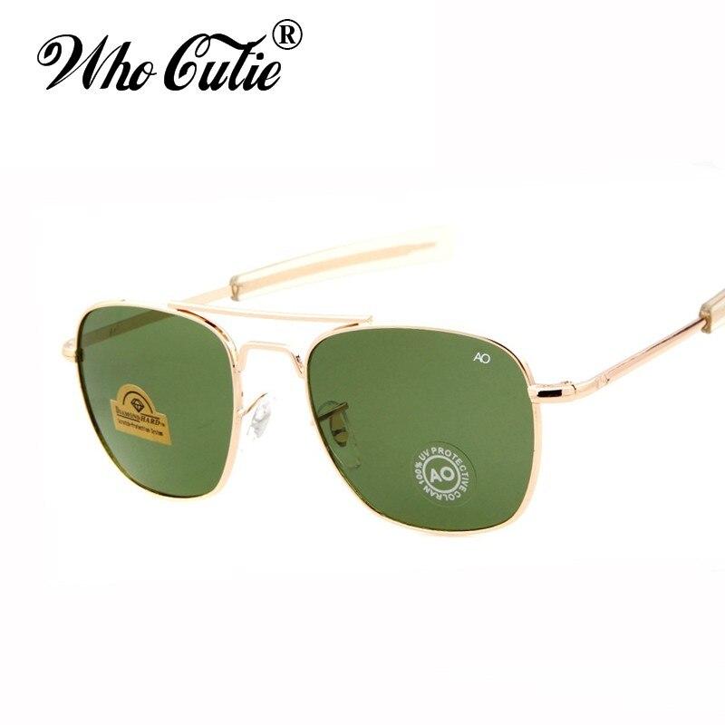 WHO CUTIE Brand New Army MILITARY AO Sunglasses Men American Optical Aviator Lens 12K Gold James Bond Pilot Sun Glasses oculos