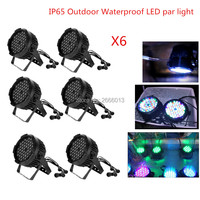 6PCS High Quality LED PAR Light 54X3W RGBW IP65 Outdoor Waterproof Stage Lights DJ Disco DMX512 SOUND control Strobe Lighting