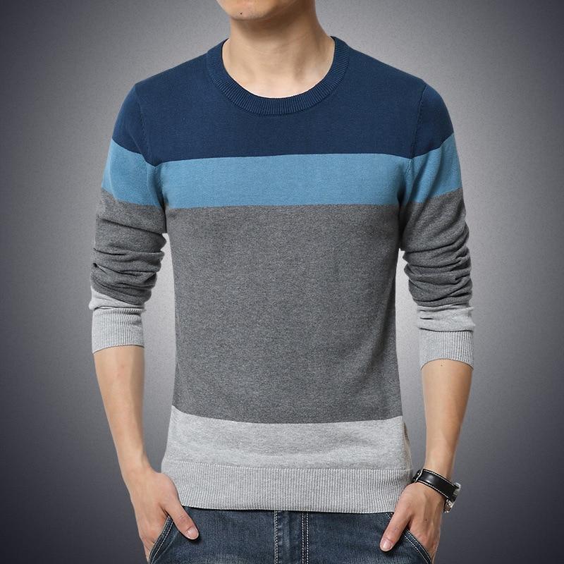 striped slim sweaters dark blue