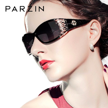 Parzin 럭셔리 선글라스 여성 디자이너 빈티지 편광 된 숙 녀 태양 안경 여성을위한 할로우 레이스 여성 안경 운전