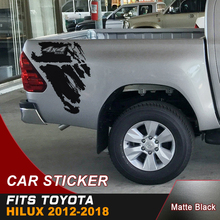 free shipping  4X4 hilux off road dirty texture gradient graphic vinyl car sticker for toyota hilux revo and vigo 2pc free shipping hilux gradient side stripe graphic vinyl 4x4 off road decal for toyota hilux revo and vigo