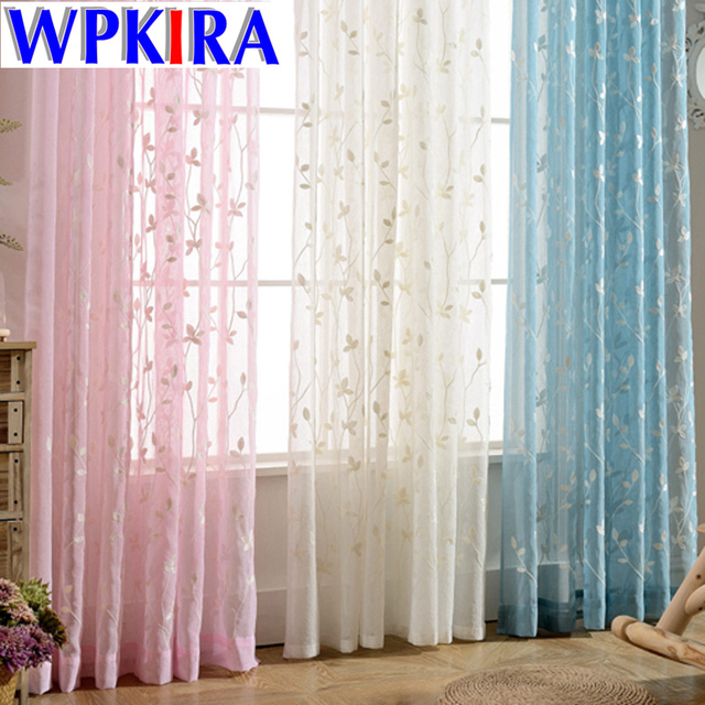 Modern Pink Sheer Curtain Tulle For Living Room Blue Window Drape White Windows Leaf