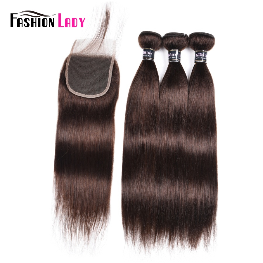 Fashion Lady Pre-Colored 3 Bundles With Lace Closure 2# Natural Brown Color Peruvian Straight Hair With Closure Non-Remy Hair