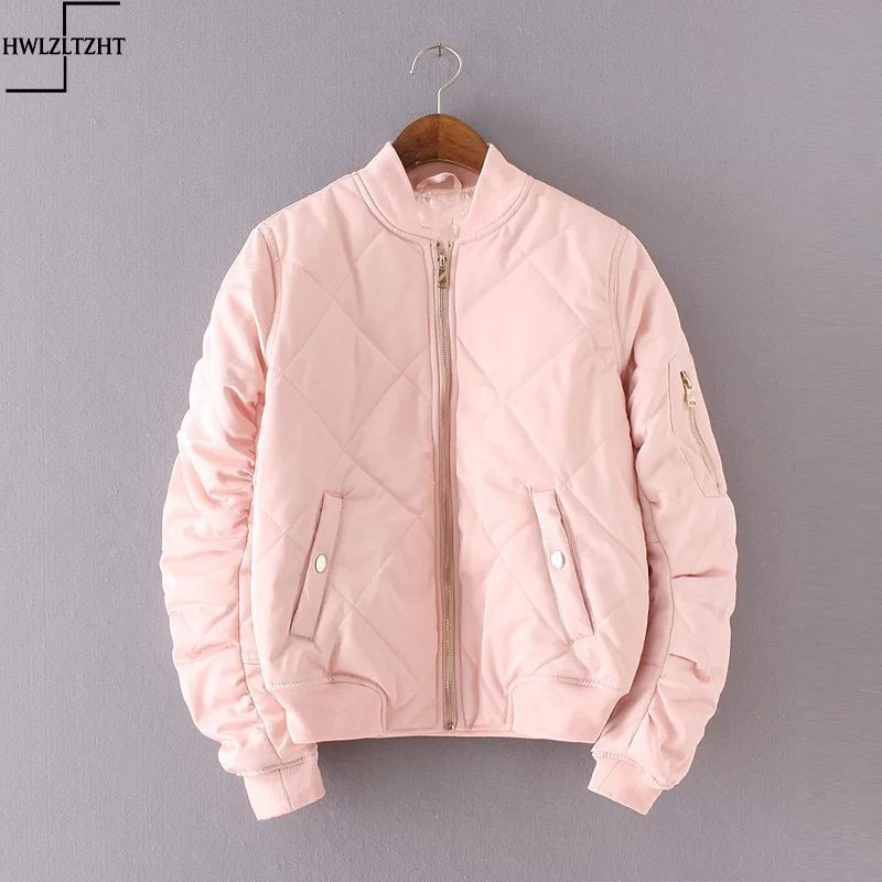4cf74d832d6 New Fashion 2017 Spring Autumn Bomber Jacket Women Padded Coat Female  Casual Diamond Coat aqueta feminina Quilted Short Jacket-in Basic Jackets  from Women s ...