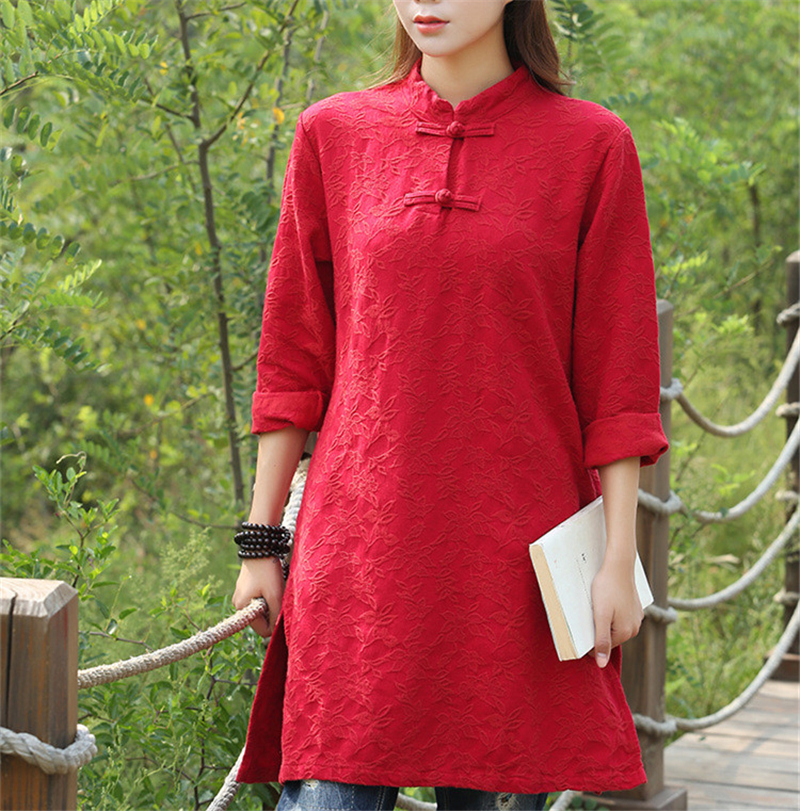 Johnature Women Vintage Dress Print Floral Stand Button 2016 Autumn New Chinese Style Women Clothes Cotton Linen Casual Dress  knitting