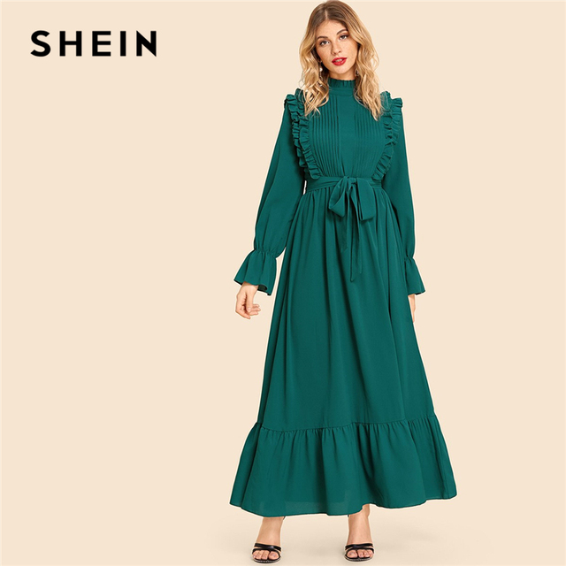 7899fdd7a3 SHEIN Army Green Vintage Party Pleated Front Bell Sleeve Belted Ruffle Long  Sleeve Maxi Dress 2018 Autumn Elegant Women Dresses