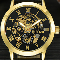 2016 New MCE Mens Gold Roman Numerals Stainless Steel Automatic Mechanical Business Wrist Watch 332