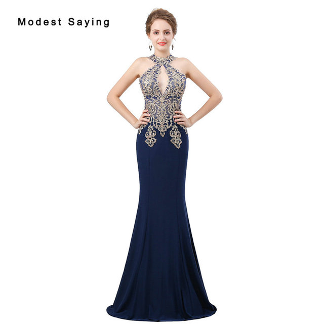 a1c00cdc 2018 Fashion Navy Blue Lace Evening Dresses with Beading Sexy Sheer Top Evening  Gowns Mermaid Party Prom Gowns robe de soiree