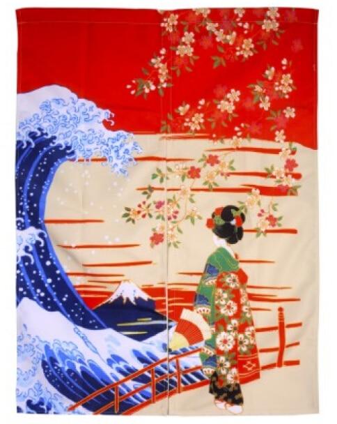 (Customized Size Accept) Korea/Japan/China Sushi Restaurant Kitchen Hanging Doorway Cloth Curtain-Beauty(85x140cm)