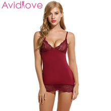 Avidlove Brand Summer Sleepwear Women Cotton Nightgown Sexy Spaghetti Strap Lace Lingerie Dress Sleepwear Sleepshirts Plus