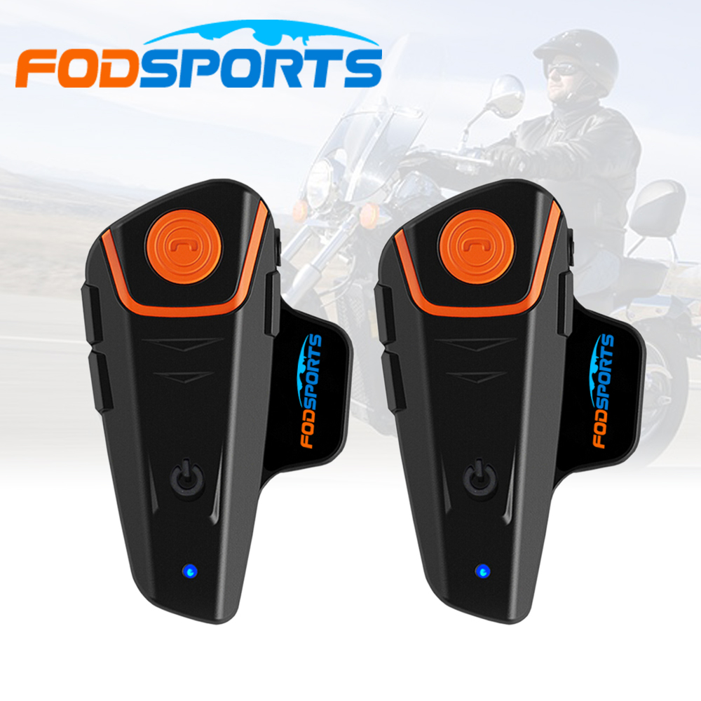 Russia Stock 2 pcs Fodsports FM Motorcycle Intercom BT Bluetooth Wireless Waterproof Interphone <font><b>Helmet</b></font> Headset Earphone BT-S2