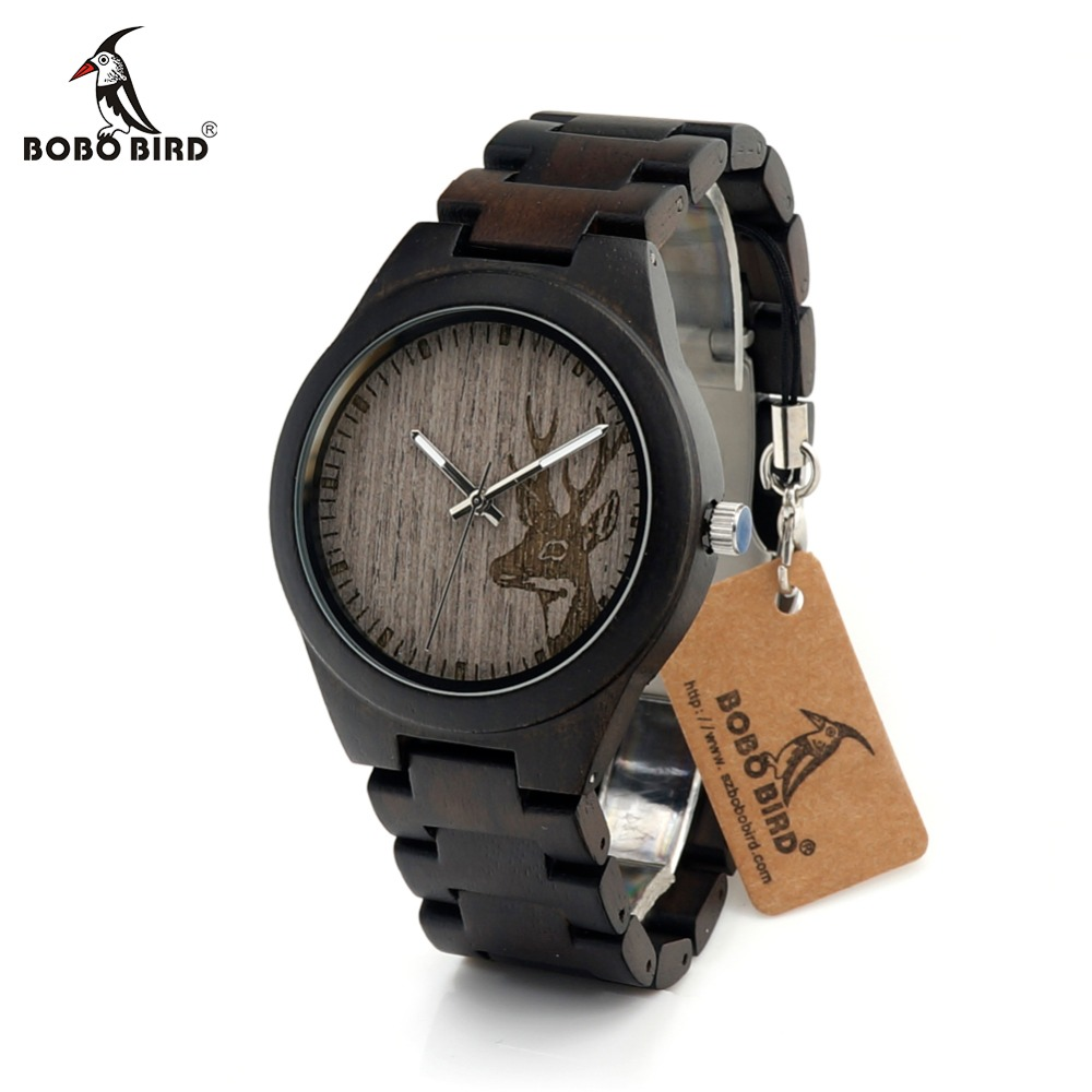 BOBO BIRD CdI26 Mens Grey Elk Dial Face Wooden Watch Ebony Band Silver Needles Japan Quartz Clock for Men in Gift Box bobo bird lbk04 elk and wolf dial face with soft leather women wooden watches fashion casual band mujer clock in gift box