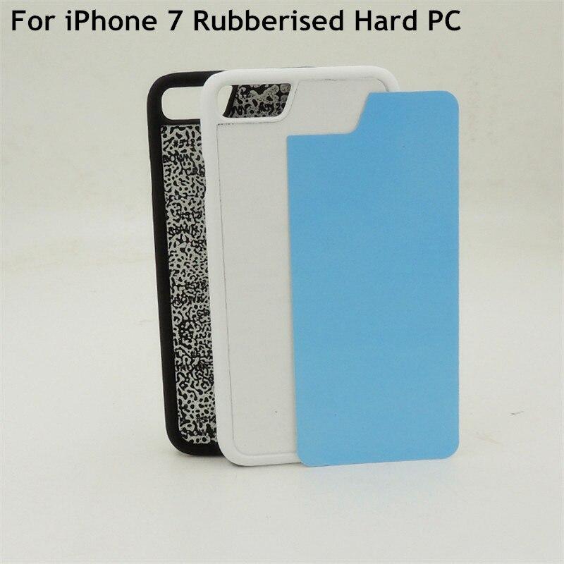 Цена за 10 шт. DIY 2D Сублимация пустой прорезиненный пластик жесткий футляр задняя крышка для iPhone 7 задняя крышка с алюминиевого листа клей