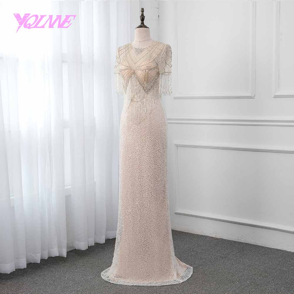 YQLNNE 2019 luxe Robe De soirée sirène Illusion perles gland Robe formelle robes De soirée Robe De soirée robes De reconstitution historique - 3