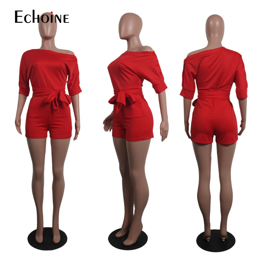 Woman Sexy Off Shoulder Playsuit Elegant Slim Romper Jumpsuit Belt Half Sleeve OL Playsuit Bodycon Party Bodysuit Club Outfit in Rompers from Women 39 s Clothing
