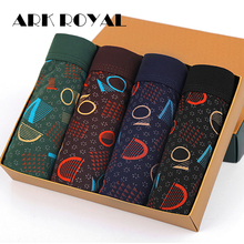 Ark Royal New Men Underwear 4pcs/lot Soft Breathable Modal Boxer Brand Designer Print Male Mens Underwear Boxers Wholesale