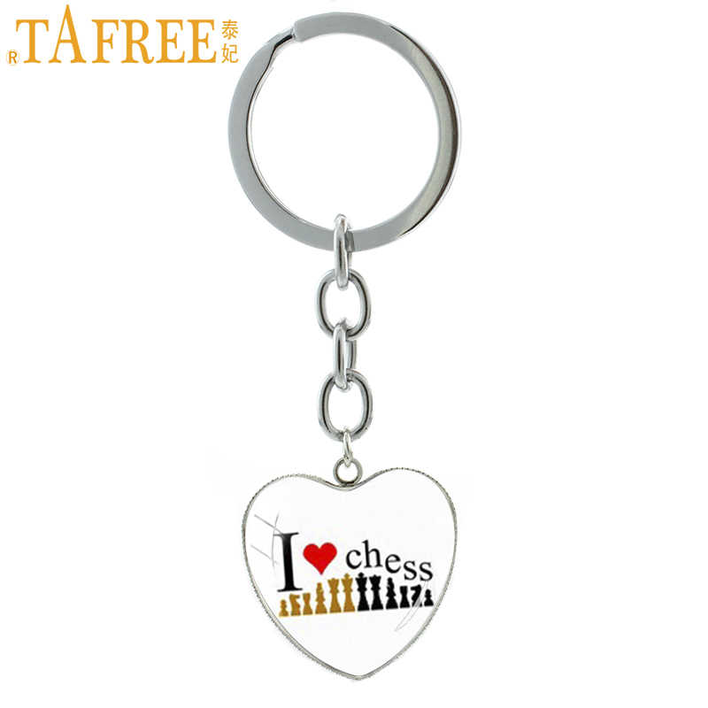 TAFREE Chess Lovers Keychains & Key Buckle Custom Glass Dome Heart Shape  Pendant Key Chains Ring Chess DAY Souvenirs Gift E583