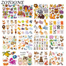 ZOTOONE DIY Heat Transfer Cute Cartoon Animal Combination Iron on Patches Applique Baby Clothes Dress T-shirt Jacket Decoration