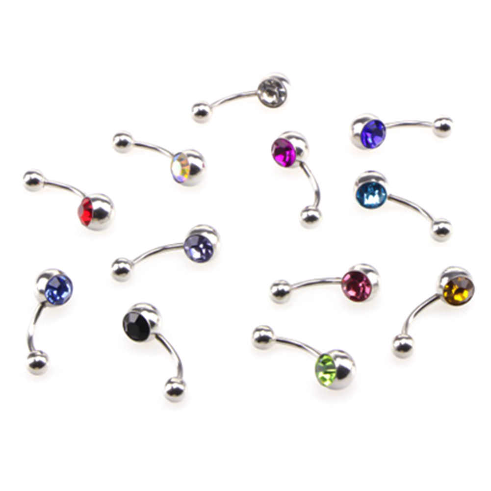 12 màu sắc Kim Cương Giả Chống Dị Ứng Đơn Giản Lounger Titanium Belly Button Nhẫn Navel Piercing