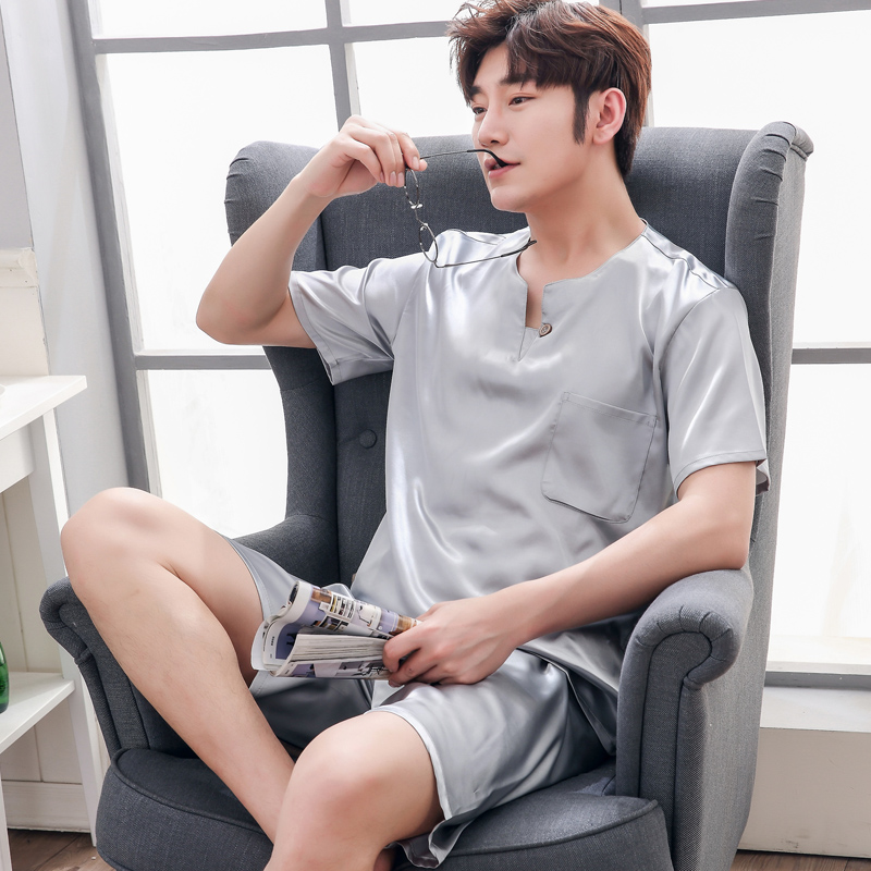 Men's Silk Pajama Sets 2019solid Color Brand New Fashion Plaid Short Sleeve Silk Sleepwears Male Sleep&lounge Pajamas Plus Size