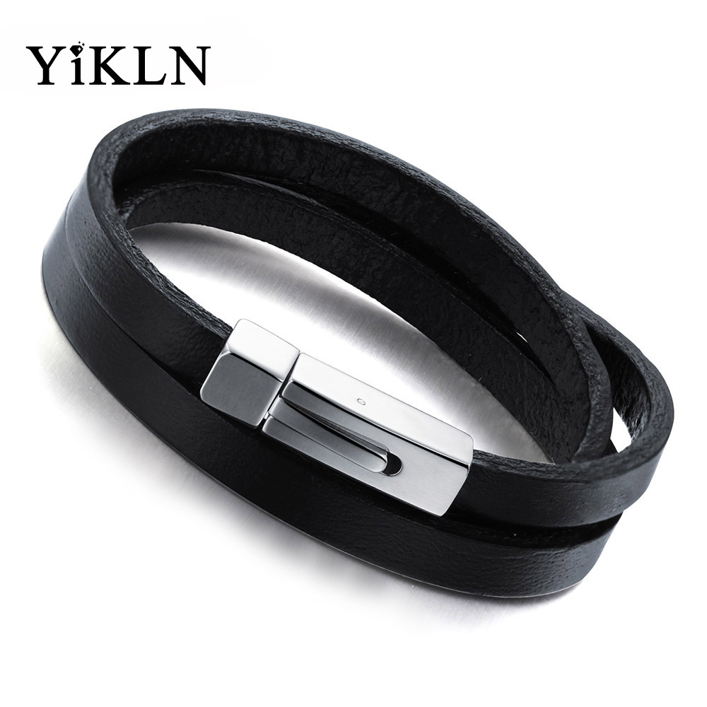 Bracelets & Bangles Rational Yikln New Design Three Layers Real Leather Wrap Bracelets Bangles 316l Stainless Steel Magnet Clasp Men Bracelet Jewelry Yoph908 Orders Are Welcome.
