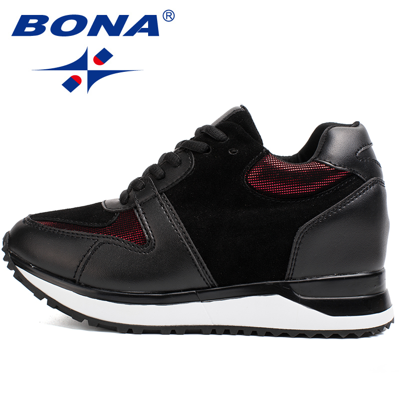 BONA New Hot Style Women Walking Shoes Height Increasing Sport Shoes Outdoor Jogging Sneakers Comfortable Athletic Shoes Retail peak sport men outdoor bas basketball shoes medium cut breathable comfortable revolve tech sneakers athletic training boots