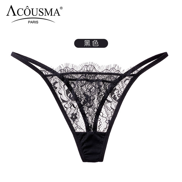 3076f1d5407 Hot Acousma Sexy Panties For Women Lace Black Thong g String Lingerie Women  Underwear Transparent Panties Briefs Intimates Girl