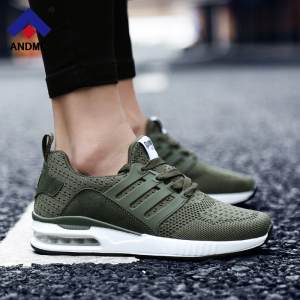 7729a4e682 Men Women Sneakers Army Green Spring Autumn Walking Shoes Professional Air  Cushion