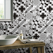European-style black and white simulation tile stickers retro living room bedroom wallpaper kitchen toilet oilproof sticker