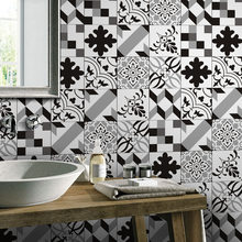 European-style black and white simulation tile stickers retro living room bedroom wallpaper kitchen toilet oilproof sticker(China)