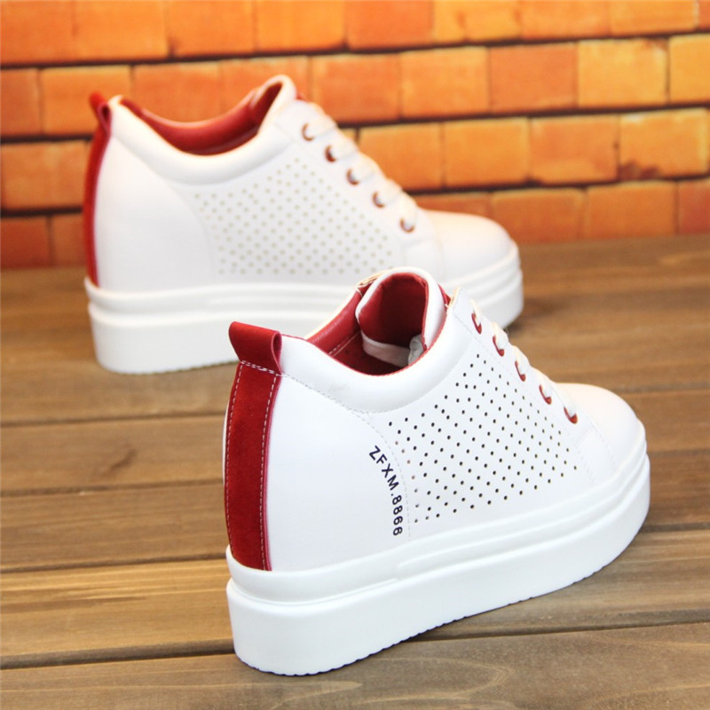 Woman Casual Chunky Platform Shoes Hollow White Sneakers Leather 2019 Spring Summer Wedges Breathable Top Woman Fashion Sneakers in Women 39 s Vulcanize Shoes from Shoes