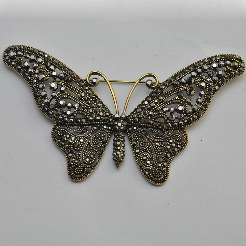 Blac Fashion Women Butterfly Brooches Pins For Women Perfect Rhinestone Crystal Hijab Pins And Broaches colares Broches Pins luxury star crystal rhinestone lapel pins and brooches for women large mother of pearl suit broches bridal wedding jewelry x012