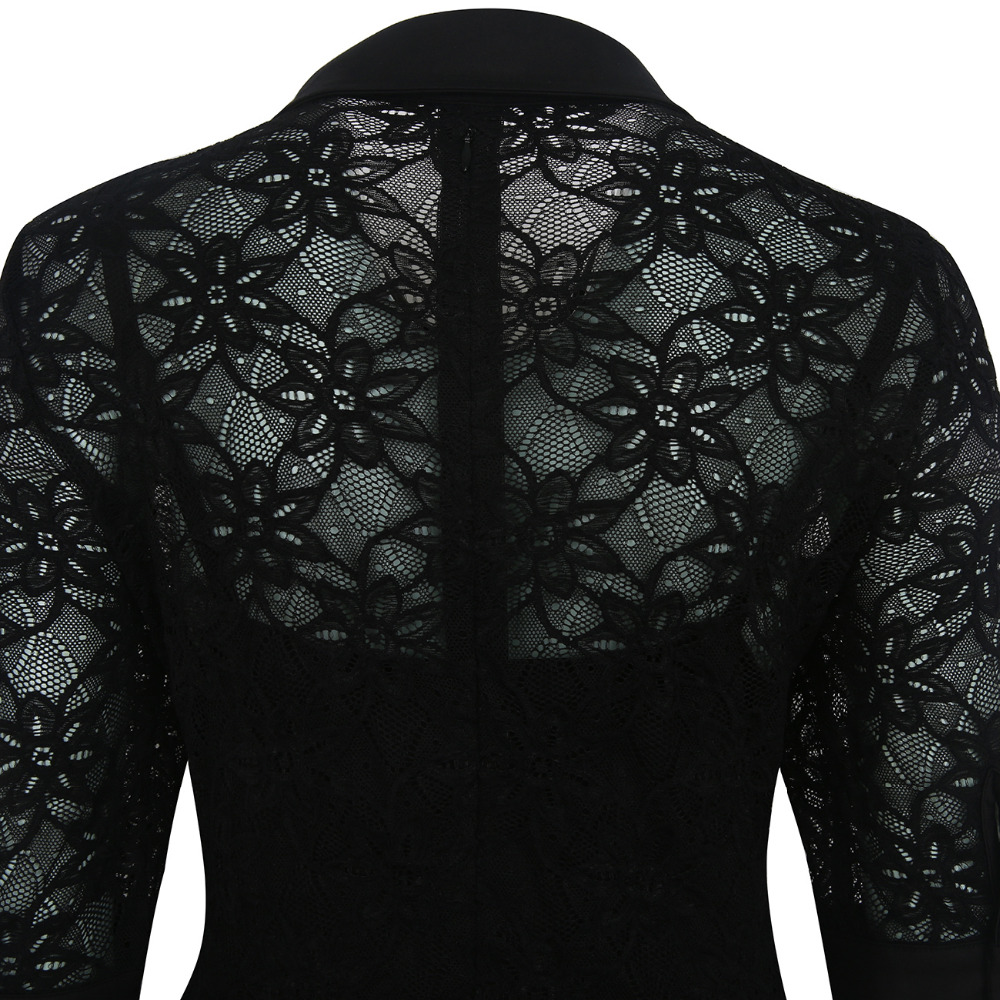 AAMIKAST Women Dresses New Arrive Autumn Lace 3 4 Sleeve Fit And Flare  Party Evening Business Loose Vintage Elegant Dresses-in Dresses from Women s  Clothing ... d030892223fd