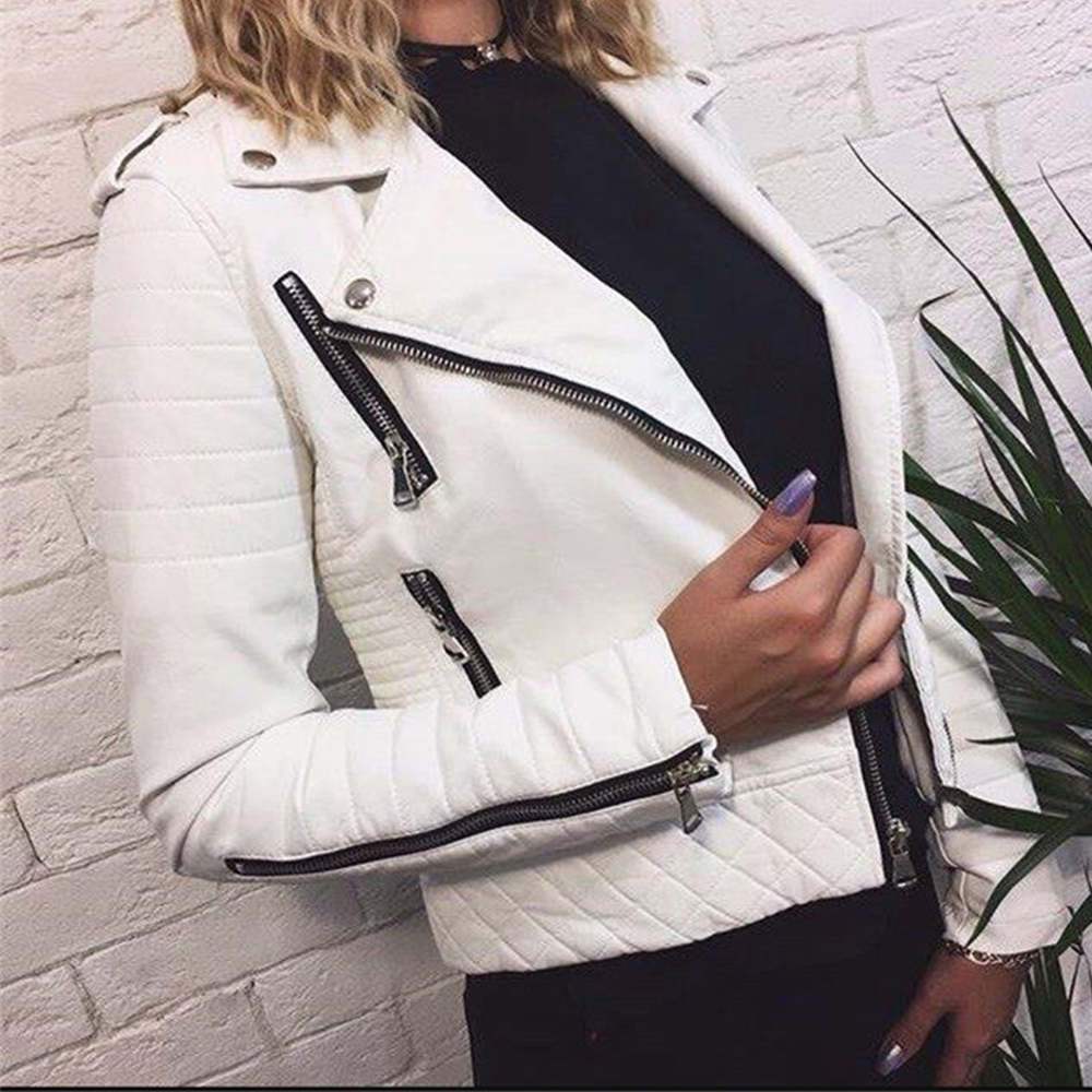 Women's Leather Jacket Motorcycle Autumn Long Sleeve Zipper Soft Faux Leather Jackets White Ladies Female Coats Outerwear