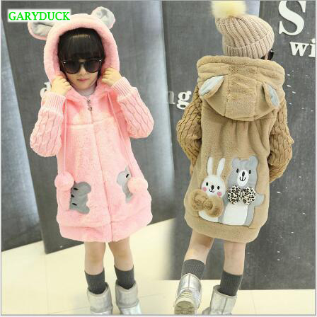 GARYDUCK 2017 New Fashion Children Winter Coat Girl Cute Cartoon Faux Fur Coat Knitted Sleeve Thick Warm Overcoat For Girl women winter coat leisure big yards hooded fur collar jacket thick warm cotton parkas new style female students overcoat ok238