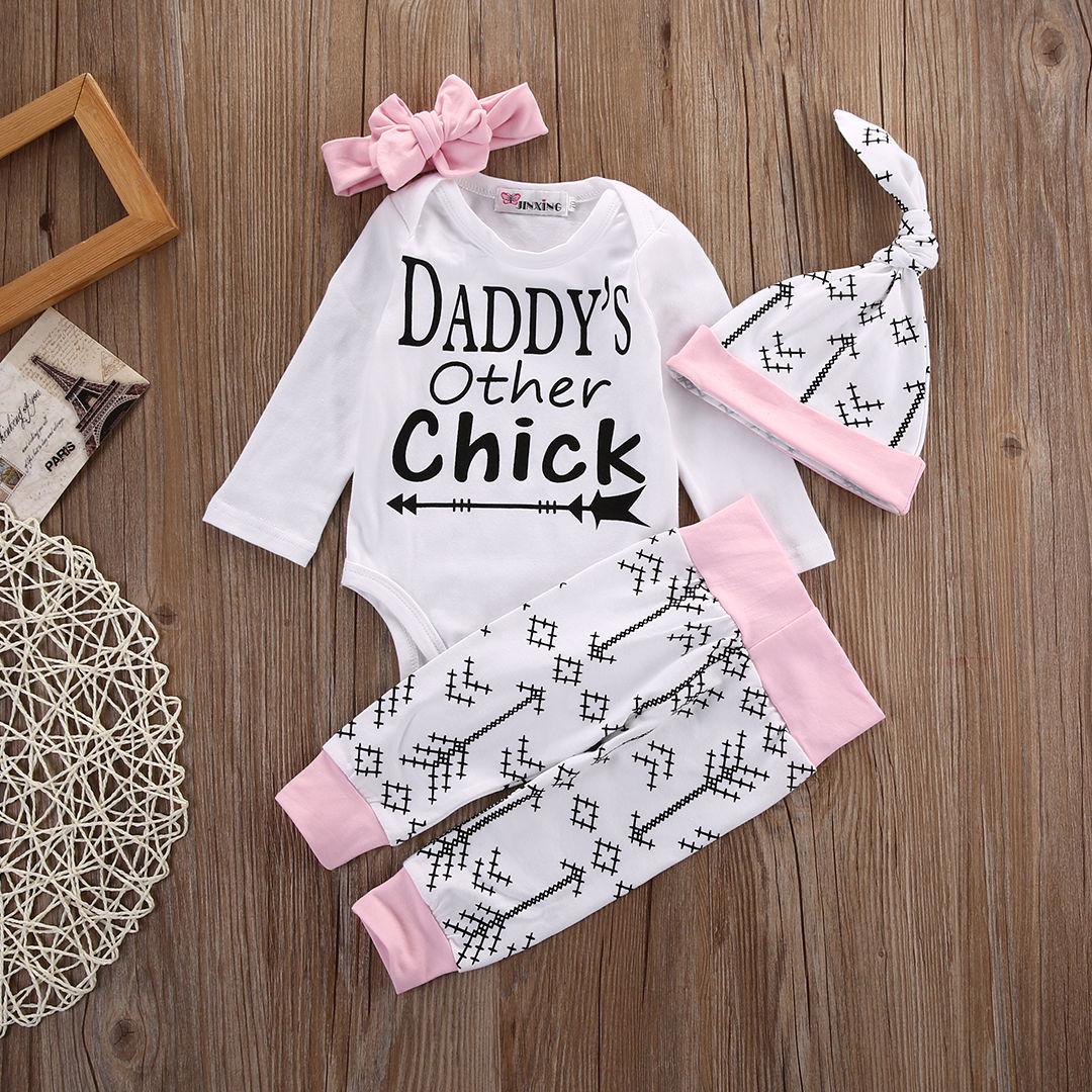 HOT Sales Newborn Infant Baby Boys Girls Romper+Arrows Long Pants+Hat Outfits Set Clothes