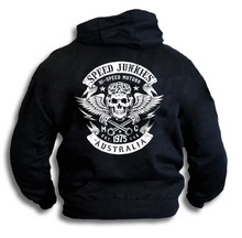Speed Junkies Australia Biker V8 Skull Wings Pistons Patch Men Hooded Top Hoodies Sweatshirt